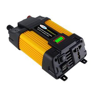 Modifizierter Sinus-Wechselrichter Hochfrequenz-Wechselrichter mit 6000 W Spitzenleistung DC 12 V zu AC 220 V-Wandler Autoladegeraet Wechselrichter mit 2,1 A Dual-USB-Anschluss Batterieklemmen LED-Batteriekapazitaetsanzeige