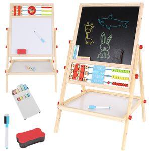 Multifunktions Zweiseitiges Zeichenbrett aus Holz Staffelei Spieltafel mit Aufbewahrungsregal und Zubehör 9449
