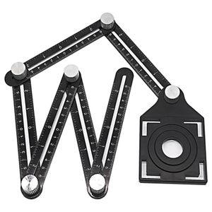 Upgrade Multi Winkel Lineal, Aluminium Legierung Winkel Mess Lineal, Universal Öffnung Locator Messung Werkzeug, 6-seitige Winkel Finder Tool, Vorlage