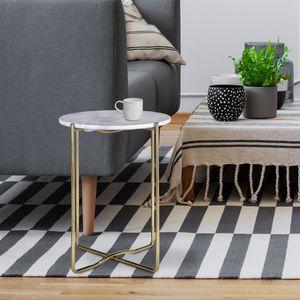 WOMO-DESIGN Design Beistelltisch ?40 x 50 cm, Wei? Banswara Marmor / Gold Metall, Wohnzimmertisch Marmor Optik / Gold Metallgestell, Moderner Sofatisch, Runder Couchtisch, Kleiner Lounge Tisch