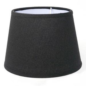 Lampenschirm für E14 E27 Fassung Schwarz Leinenoptik 17 cm  Polyester/Baumwolle