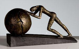 """Casablanca Skulptur """"Heavy Ball"""" aus Poly bronzefarben auf schwarzer Basis 59598"""