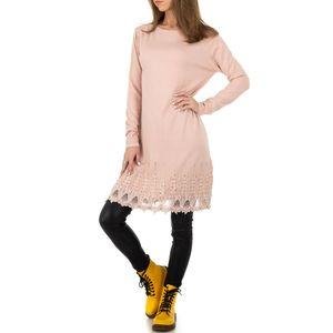 Ital-Design Damen Pullover & Strick Longpullover Rosa
