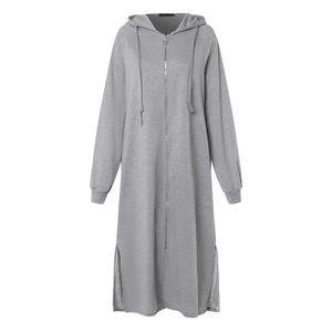 Zanzea Damen Pullover Mäntel mit Kapuze Lange Tops Mäntel Softshellmantel Farbe: Hellgrau, Größe: XXXL
