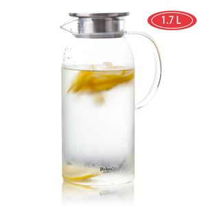 1,7L Glaskaraffe Krug Wasserkrug Karaffe Edelstahl Deckel Wasserkaraffe Glaskanne 1x Glaskaraffe 1,7L