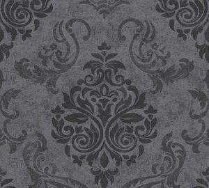 A.S. Création Vliestapete mit Glitter Memory 3 Tapete grau metallic schwarz 10,05 m x 0,53 m 953723 95372-3