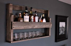 Whisky Regal aus Holz - mit Gläserhalter - Braun - Industrie Stil - fertig montiert - Wandbar - Whisky-Regal aus Holz