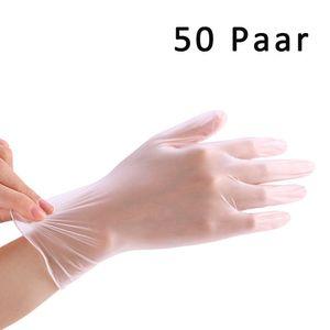 50 Paar Einweghandschuhe Einweg PVC Handschuhe Handschuhe  zur Prophylaxe von Schmierinfektionen Größe L