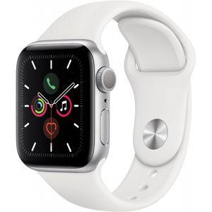Apple Watch Series 5 40mm Alu Case silver Sportband weiß, Farbe:Weiß