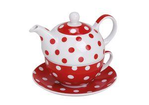 Teekanne mit Tasse Teetasse und Untersetzer Teller Tea for ONE Set rot gepunktet 15x14 cm
