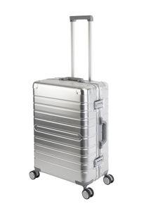 Travelhouse Oslo Aluminium Koffer Trolley M - 4 Rollen Alu-Reise-Koffer Hartschale Leicht 70l - TSA - Schnappverschluss - Silber