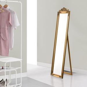 Standspiegel 160x40 cm Ganzkörperspiegel rechteckig Ankleidespiegel kippbar Barock Gold [en.casa]