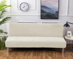 Sofa-Bezug, Stretch-Sofa-Bettbezug , Anti-Rutsch-Schutz für Couch ohne Armlehnen, Elasthan-Jacquard-Stoffbezug Futonbezug, beige