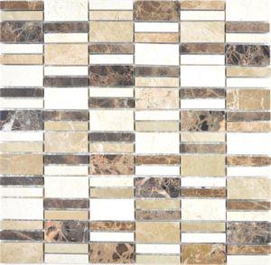 Marmor Mosaik Stein emperador dark cremarfil Mosaikfliese Wand Fliesenspiegel Küche Bad