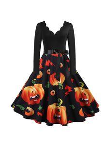 Frauen Retro ausgestelltes Kleid Halloween Kürbis gedruckt Langarm Party Swing Kleid,Farbe:Schwarz, Größe:XL