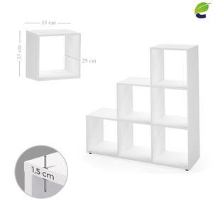 ecoMI - Bücherregal Weiß Treppenregal 6 Fächer Raumteiler Stufenregal Standregal Büroregal