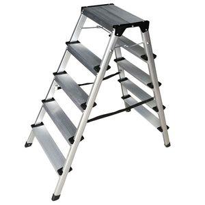 Trittleiter aus Aluminium mit 5 Stufen, beidseitig begehbar