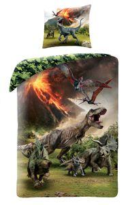 Jurassic World Bettwäsche 80x80 + 135x200 cm · Dino / Dinosaurier Kinder-Bettwäsche - 100% Baumwolle