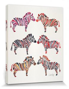 Zebras Poster Leinwandbild Auf Keilrahmen - Zebras, Cat Coquillette (50 x 40 cm)