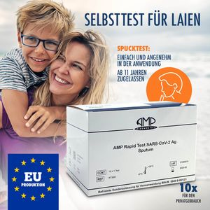 10x  Schnelltest, Spucktest, Covid Selbsttest, EU produziert, ab 11 Jahren, Antigen Test (), Spucktest (Sputum) für zuhause, Set mit vollständigem Zubehör & Anleitung, EN ISO zertifiziert