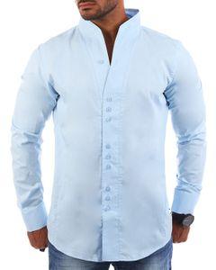 Carisma Herren Uni langarm Stehkragen Hemd slimfit tailliert figurbetont Party Club Look Optik Freizeit Casual einfarbig Basic , Grösse:L, Farbe:Hellblau