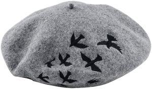 QingShop Charming Winter Hüte für Frauen Berets Strickwolle Baskenmütze Bestickt Schwalben Muster Baskenmützen
