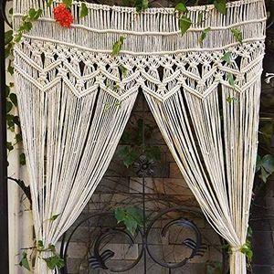 LOZAYI Spitze Wandbehang Wandteppich Baumwolle gewebte handgewebte böhmische Tür hängen Vorhang Indoor Outdoor Hochzeit Hintergrund Vorhang 95x 180 cm