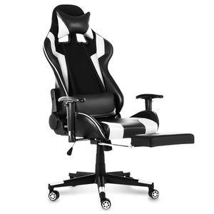 MECO Gaming Stuhl Belastbarkeit bis zu 150kg Ergonomisches Design Chefsessel Hoher Rücken Gaming Bürostuhl mit Fußstütze Farbe: Weiß