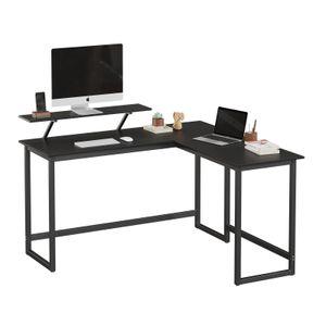 VASAGLE Schreibtisch mit beweglichem Monitoraufsatz | 140 x 130 x 76cm einfache Montage platzsparend Metall schwarz LWD56BK