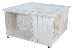 1x KISTENTISCH mit Vintage Holz, eingefasster Glasplatte und Stauraum / 85x85 cm / niedriger Tisch