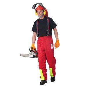 Schnittschutzhose Klasse 1, Forsthose WOODSafe®, kwf-, Bundhose rot/gelb, Herren - Waldarbeiterhose mit Schnittschutz Form A, leichtes Gewicht - Größe 52