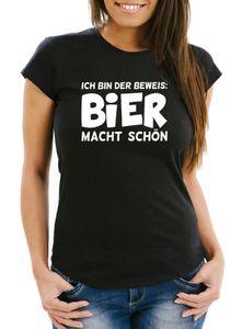 Damen T-Shirt Ich bin der Beweis Bier macht schön Slim Fit Moonworks® schwarz S