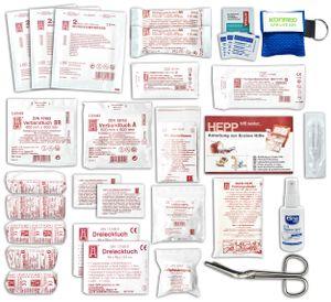 KFZ Auto-Verbandkasten - Füllung nach aktueller DIN 13164 -  mit Antisept-Hygiene-Spray, Notfallbeatmungshilfe, Wundreinigungstuch, Alkohol-Tupfern und Pinzette