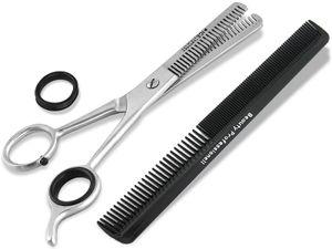 Effilierschere 15 cm 2-Seitig gezahnt mit Kamm Haarscheren Set 2-Teilig