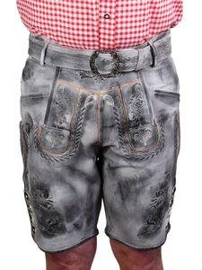 Kurze Trachten Lederhose urig speckig Vintage , Größe:50, Farben:Antik Grau