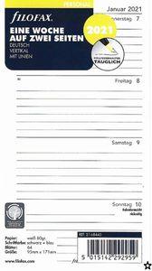 Filofax Kalendereinlage Personal 95 x 171 mm : Eine Woche auf zwei Seiten 2021 vertikal mit Linien