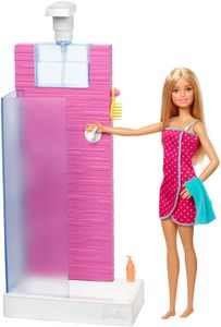 Barbie Deluxe-Set Möbel Dusche und Puppe