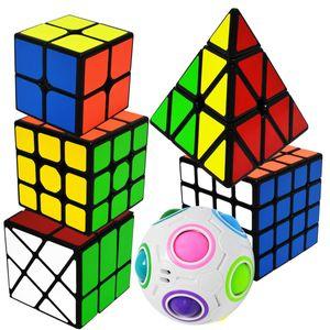 Zauberwürfel 6 Pack Speed Cube Set Pyraminx + 2x2x2 + 3x3x3 + 4x4x4 + Magische Regenbogenball + Fenghuolun Magic Puzzle Cubes Zauber Würfel PVC Aufkleber