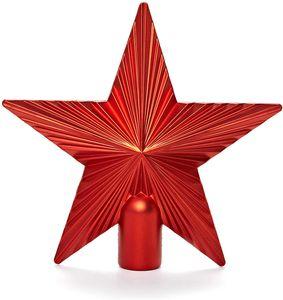 Christbaumspitze Weihnachtsstern aus Kunststoff - Weihnachtsbaumspitze Weihnachtsdeko - Rot