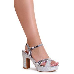 topschuhe24 1882 Damen Glitzer Sandaletten Pumps, Farbe:Silber, Größe:40 EU