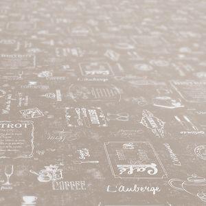 Cafe Bistrot Beige Oval 240x140cm Wachstuch Tischdecke eingefasst