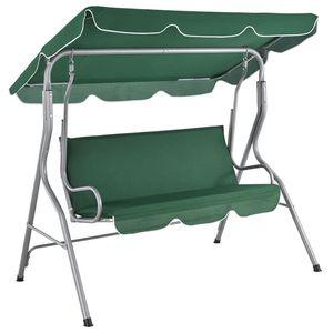 Juskys Hollywoodschaukel 3-Sitzer mit Dach & Sitzauflage – Gartenschaukel 200 kg belastbar – Schaukelbank für Garten & Terrasse - Grün