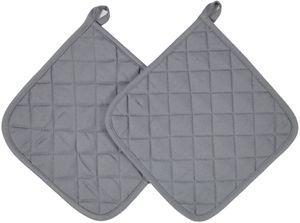 2er Set Topflappen aus Baumwolle, 24x24 cm, grau