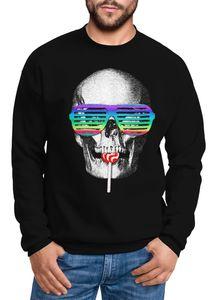 Sweatshirt Herren Totenkopf Skull Lolly Hippie Retro 70er Moonworks® schwarz M