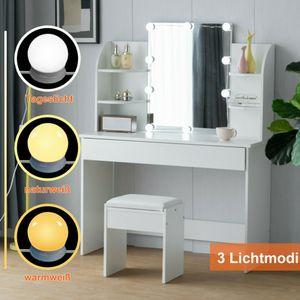 Schminktisch mit LED-Beleuchtung Weiß mit Hocker Spiegel Schublade und Fächern Frisiertisch Kosmetiktisch Kommode