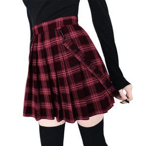 Damenmode Plaidriemen mit hoher Taille Großer Saum Plissee Party Mini A-Linie Rock, Schwarz XL