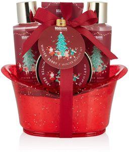 BRUBAKER Cosmetics Bade- und Dusch Geschenkset Winter Beeren Duft - 5-teiliges Pflegeset in dekorativer Wanne Weihnachten - Weihnachtsset für Frauen und Männer
