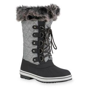 Giralin Damen Warm Gefütterte Winterstiefel Bequeme Kunstfell Schuhe 836367, Farbe: Hellgrau Grau, Größe: 39