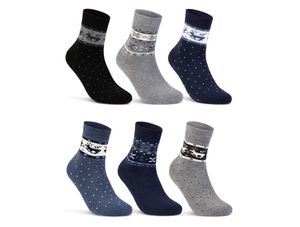 6 oder 12 Paar Damen THERMO Socken mit Innenfrottee Wintersocken Damensocken D-27 - 6 Paar Farbmix 39-42
