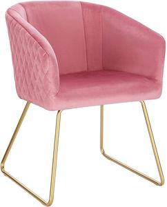 WOLTU BH271rs-1 1x Esszimmerstühle Küchenstuhl Polsterstuhl Wohnzimmerstuhl Sessel, Sitzfläche aus Samt, Metall Gold Beine, Rosa